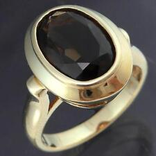 Bold Solid 9k GOLD DARK BRONZE SMOKY QUARTZ SOLITAIRE COCKTAIL RING Sz N1/2
