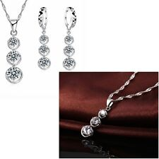 925 Silver 3 Round Crystal Tassel Necklace And Earring Jewellery Set Gift  UK