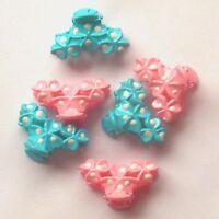 6 MINI PETITES PINCES CRABES BARETTES CHEVEUX ROSE & BLEU 3 cm / 2 cm