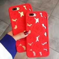 Girl's 3D Hollow Red Rose Soft Silicone Shell Cover Case for Apple iPhone 7 Plus