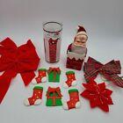 Christmas Grab Set Red Plaid Poinsettia Bow Ornaments Santa Glass Chimney Lot 13