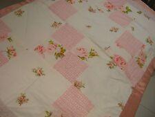 Cottage Chic Hand M pink roses white eyelet quilt blanket Patchwork crib stroler