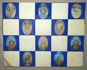 ANTIQUE MINIATURES - COLOURED LITHOGRAPHS FOR PENDANTS - ROYALTY - 4cm x 2.5cm