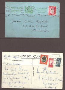 SOUTH AFRICA - TWO 1940s POSTCARDS - WITH WAR EFFORT  STAMPING - REFER SCANS