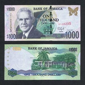 2011 JAMAICA 1,000 1000 DOLLARS P-86i UNC> > > > >MICHAEL MANLEY PAPILIO HOMERUS