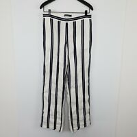 Sportscraft Women's Linen Blend Pants Blue White Stripe Pockets Elastic Waist 10
