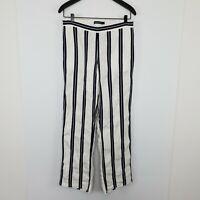 Sportscraft Women's Linen Blend Pants Blue White Stripe Pockets Elastic Waist 10
