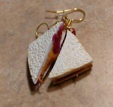Miniature Peanut Butter & Jelly Sandwich Earrings Gold Tone Clay Food Kids Wire