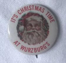 Antique Christmas Santa Claus Wurzburg's Grand Rapids Celluloid Button Pinback