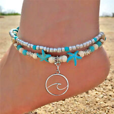 Boho Multilayer Starfish Bead Pendant Turquoise Anklet Foot Chain Ankle'Bracelet