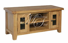 Solid Chunky Wood Rustic Oak Large TV LCD Cabinet Stand Unit | Shrewsbury Range