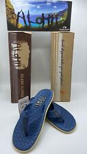 Island Slipper Men's Sassary Leather Royal Blue Thong Size 10