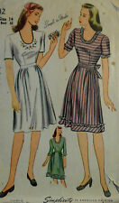 Vtg 1943 Day Dress  w/ Embroidery Transfer Simplicity 4942 Unprinted Bust 32 S14
