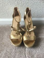 NEW Michael Kors Suki Gold MK Charms Wedge Sandals Sz 8.5