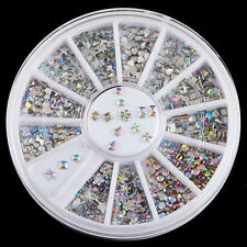 6 Style Colorful Acrylic Nail Art Tips Charms Glitter Rhinestone Decoration