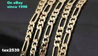 """Figaro Italian 18K Pure Gold overlay Necklace choose Length 16-30"""" 2,3,9.10. mm"""