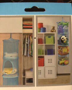 Mesh Toy Cubby 4 Compartments Organizer for Storing Toys/ClothesBlue 11x45in