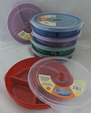 Set of 8 Divided 3 Compartment Microwave Plate w/Vented Lids Food Storage F
