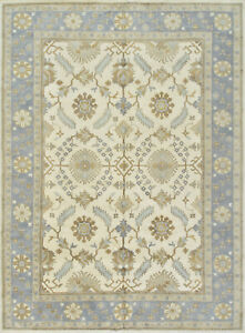 Oushak 10'x14' Ivory Wool Hand-Knotted Oriental Rug