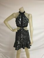 Express Dress Womens XS Black Silver Sequin Cut Outs Fit and Flare NWT $148