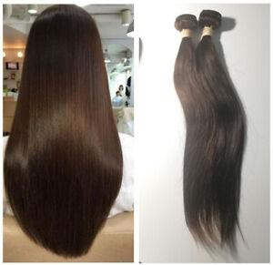 2 PCS of Dark Brown color Straight human hair bundles Peruvian Virgin hair weave