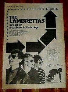 THE LAMBRETTAS BEAT BOYS 1980 FULL PAGE PRESS ADVERT POSTER SIZE  37/26CM MOD