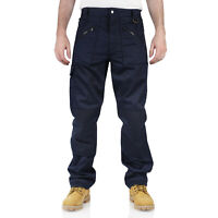 New Mens Work Trousers Combat 9 Pockets Navy Blue Cargo Knee Pad Heavy Duty Kit