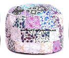 White Mandala Patchwork Indian Ottoman Small Pouffe Cover Room Decorative Throw