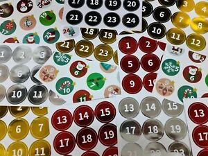 24 Advent Calendar Countdown 24 - 1 Sleeps until Christmas Stickers Labels