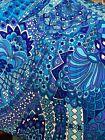"28"" VHY vtg Hawaiian Aqua Royal Purple Mod Crepe Fabric"