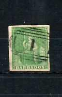 Barbados 1858 (1/2d) green (shades) 3 good margins FU