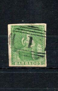 Barbados 1858 (1/2d) green (shades) 3 good margins FU