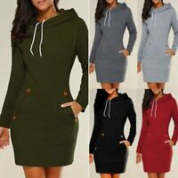 Fashion Women Dress Long Sleeve Hoodie Hooded Jumper Pockets Sweater Tops Casual