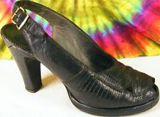 6.5 vintage 40s black lizard Andrew Geller platform slingback peep-toe shoes
