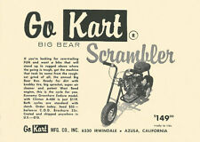 Vintage 1960 Go-Kart Big Bear Scrambler Mini-Bike Ad