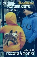 Picture Knits Patons Beehive Knitting Booklet Children 4-12 Hockey, Dog, Horse