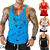 AU Men Stringer Bodybuilding Tank Top Gym Fitness Singlet Sleeveless Muscle Vest