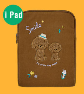 """Brown Curly Poodle 11"""" iPad Tablet waterproof canvas Sleeve Case Bag Pouch"""