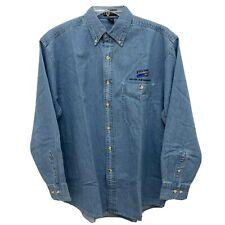 Blockbuster Video Employee Large Denim Uniform Button Up Long Sleeve Shirt
