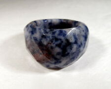 Dynamic Natural Sodalite Gemstone Solid FACETED Ring Size 7.75    SODR78
