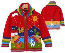 Strickjacke Zipfelkapuze rot+bunt  Gr. 98*104  XXL-Kapuze Inka Peru Alpaka Lama
