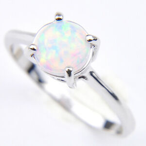 Wedding Gift Rose pink White Fire Opal Gemstone Solid Silver Rings Size 7 8 9