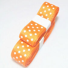 "3yds 5/8""(15 mm) Dark orange Christmas Ribbon Printed lovely Dots Grosgrain#"