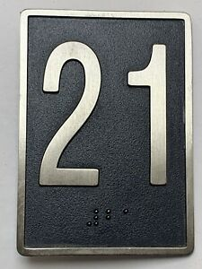 "Vtg Hotel Motel Door Floor Number 21 Plate Braille Stainless Steel 3.5"" x 2.5"""