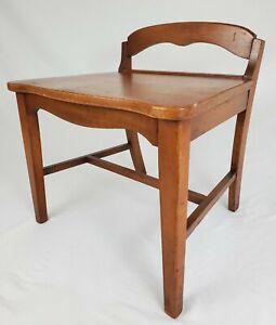 Mid-Century Vanity Bench Seat Maple Wood Art Deco Vintage