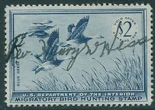 RW22 1949 $2 Blue Geese Duck Stamp VF Used Cat $10.00                s85
