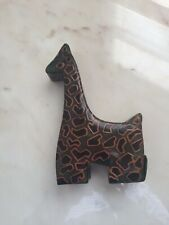 Giraffe Genuine Leather Hand Painted coin box money bank piggy green