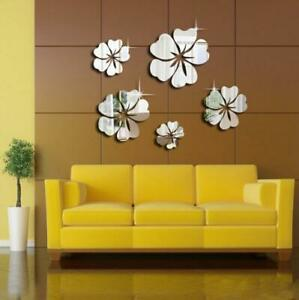 Wall Sticker Removable 3D Mirror Flower Decal DIY Home Room Art Mural Decor