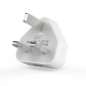 3 Pin UK Mains Wall Plug Adapter For Phones Tablets Single Port USB Charger CE