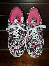 Disney Women Minnie Mouse Black White Canvas Lace Up Boat Deck Tennis Shoes Sz 8